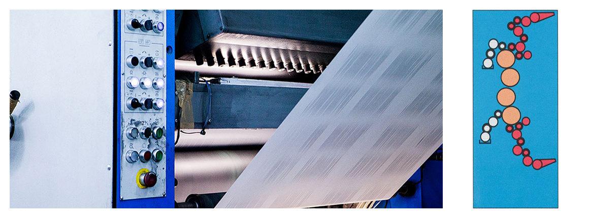 схема печатной секции рулонная офсетной машины Книга-84