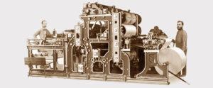 """первая ротационная машина Koenig & Bauer поставленная в 1876 году в """"Magdeburger Zeitung"""""""