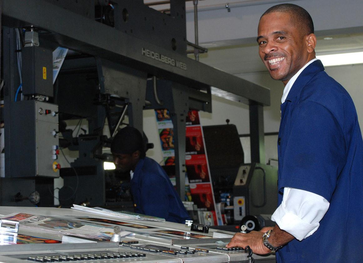 ротационная журнальная машина офсетной печати Heidelberg WEB-8 в типографии PrintWeb Caribbean Ltd.