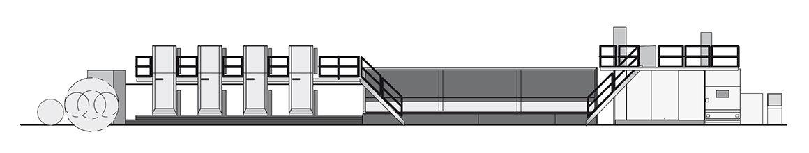 схема построения рулонной журнальной машины Komori System 38D