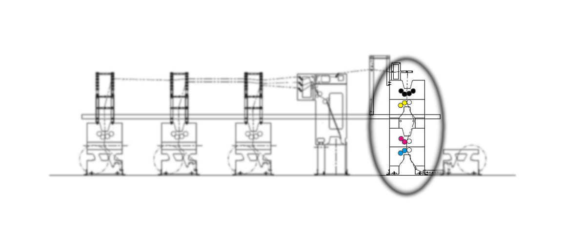 рулонная офсетная печатная машина с башней 4+1