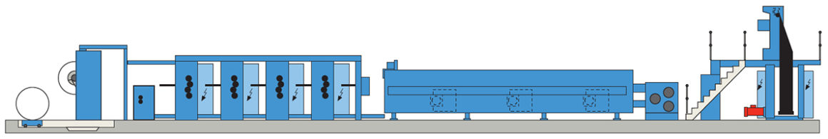 классическое партерное построение KBA Compacta 215 (4 печатные секции)
