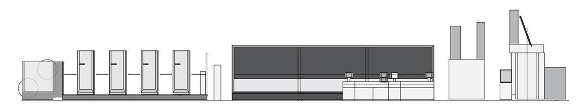 партерное построение ролевой машины Komori System 38S
