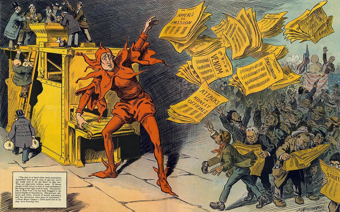 """иллюстрация """"The Yellow Press"""" от L.M. Glackens, высмеивающая """"желтое"""" содержание"""