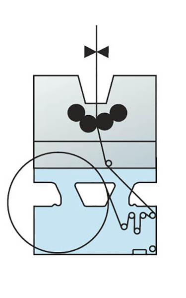 схема проводки полотна в mono-секции со встроенной рулонной зарядкой